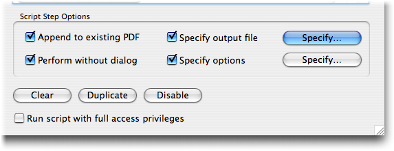 "In FileMaker Pro 9, the Save Records as PDF script step has a new option: ""Append to existing PDF."""