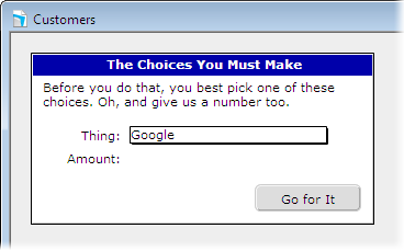 A simulated dialog box on a FileMaker Pro layout
