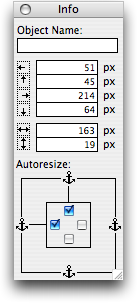 FileMaker Pro 9's Object Info palette has anchors that let you control auto-resize