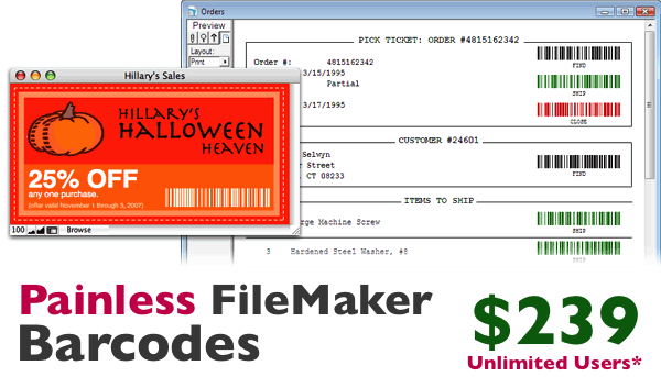Example uses of the 6Barcode plug-in: a warehouse pick ticket with barcode-based automation, and simple barcode labels.