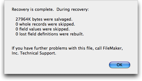 Recovery Dialog