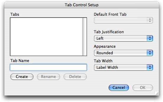 Tab Control Setup Dialog