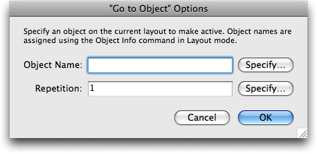 Options for the Go To Object script step.