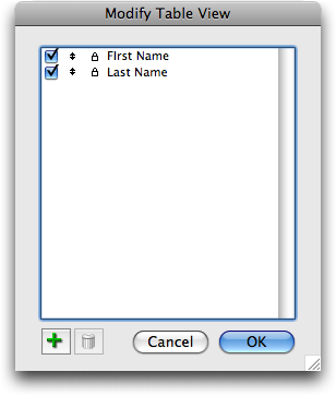 In FileMaker 10, users can add and remove fields from a table view layout.