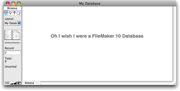The FileMaker 9 Status Area