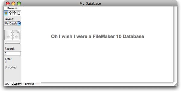 The FileMaker 9 Status Area