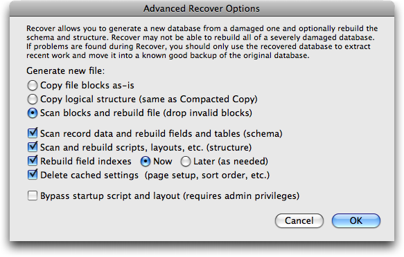 The new Recover dialog box in FileMaker Pro 10
