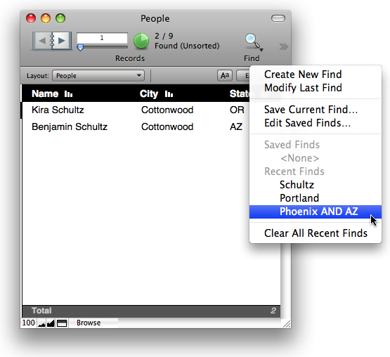 The Saved Finds menu in FileMaker Pro 10