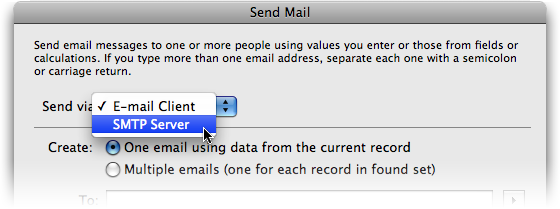 The new Send Mail command in FileMaker Pro 10 can send directly to an SMTP mail server.