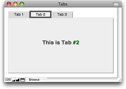 A tab control with keyboard focus, showing the thick black border around the active tab.